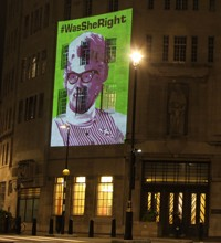 An image of TV campaigner Mary Whitehouse appeared on the side of the BBC in November to mark the 50th anniversary of the organisation she founded: Mediawatch-UK