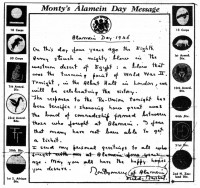 Figure 7.9. Monty's Alamein message, on the fourth anniversary of a turning point in the Second World War. Source: Daily Graphic, October 23, 1946