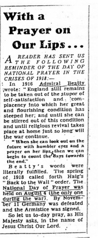 Figure 7.11. Suporting the King's call to prayer during WW2. Source: Daily Express, 1944