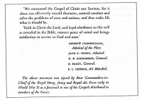 Figure 7.12. Statement of faith in Christ and the Bible by leaders of the armed forces in WW2. Source: Church of England Newspaper, 1945.